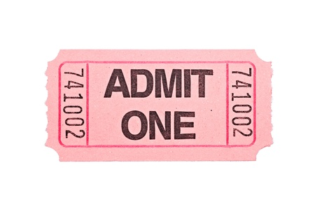 An admittance ticket isolated on a white background photo
