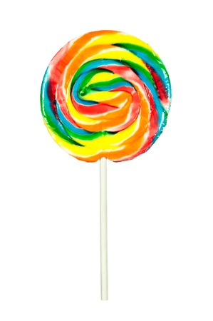 candy stick: A candy pinwheel sucker isolated on a white background Stock Photo