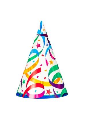 흰색 배경에 격리 된 생일이나 새해 파티 모자 스톡 콘텐츠