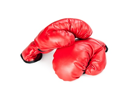 A pair of new boxing gloves on a white background photo