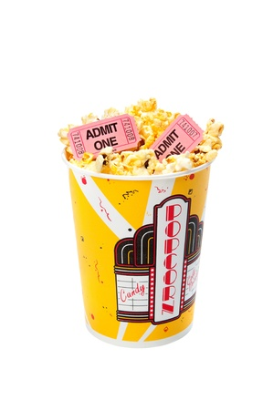 purchased: A tub of popcorn with movie tickets on top.