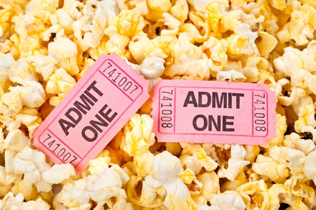 popped: Movie tickets in a pool of freshly popped popcorn