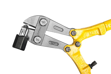New, yellow bolt cutters with sharp pinchers cutting a lock, isolated on white.