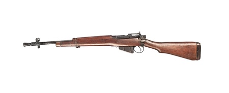 antique rifle: An early 1900 British Enfield antique rifle isolated on white