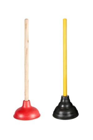 Two toilet plungers isolated on white.  These are full resolution images combined into one image (no downsizing) photo