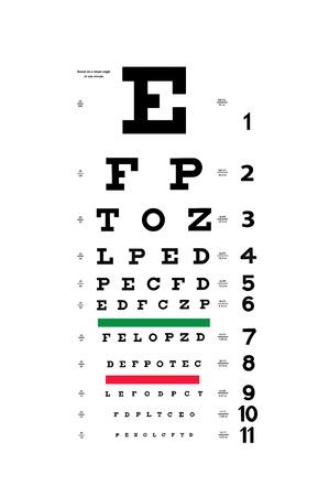 eye chart: Photograph of a new Snellen eye examination chart.