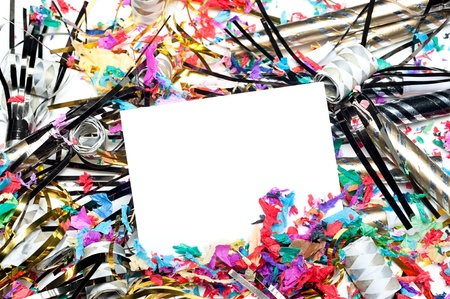 A blank party invitation with party blow horns and streamers.  Card is blank for placement of copy. Stock Photo - 12769949