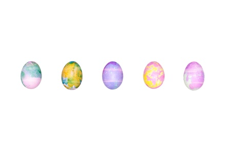 A set of colored Easter eggs isolated on a white background Stock Photo