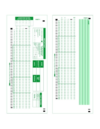 A blank test score sheet isolated on white.  Image offers both the front and back of the form, each side in full resolution.
