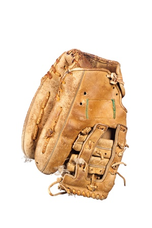 ratty: An old, rundown leather baseball glove with frayed laces and in a grungy condition isolated on white.