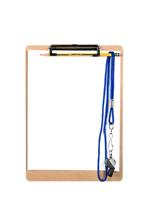 A clipboard with a clean, blank sheet of white paper and whistle hanging from a number 2 yellow pencil. photo