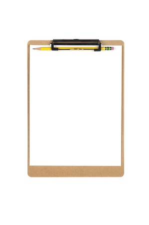 A new clipboard with a blank sheet of paper for copy placement.  Image is isolated on white for designer convenience.