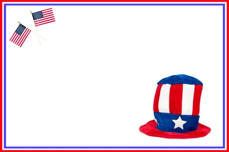patriotic border: A colorful, patriotic image for a Fourth of July, Memorial Day or Labor Day theme.  Room for copy.