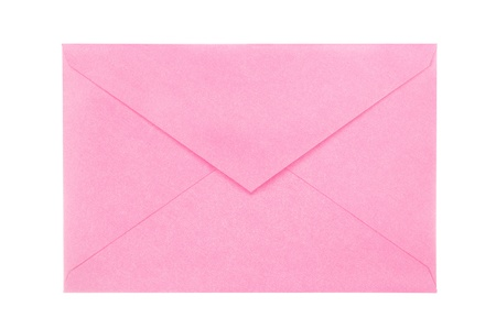 A new, blank, open pink envelope isolated on white for user covenience.