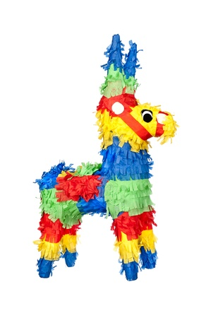 pinata: An unused, new party pinata for use at birthdays. Isolated on white for user conveninece.