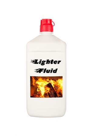 A container of charcoal lighter fluid isolated on a white background.  Good for summer barbecue inferences and safety messages. photo