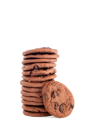 chocolate chip cookies: A stack of delicious, dark chocolate chip cookies with primary cookie.  Shot on a white background for user convenience. Stock Photo