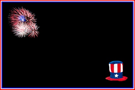 A holiday invitation theme for the Fourth of July with a patriotic hat and fireworks.  Black space can be used for placement of copy or other inputs. Stock Photo - 13411744