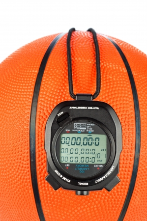 close quarters: A basketball sports theme with a digital stopwatch for use with most sports inferences where games are timed