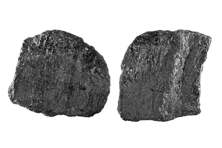 bituminous coal: Two chunks of bituminous carbon use to generate power isolated on white