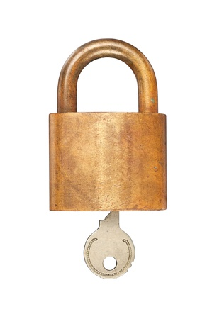 pad lock: An old USN (United States Navy) brass lock and key isolated on white. Stock Photo