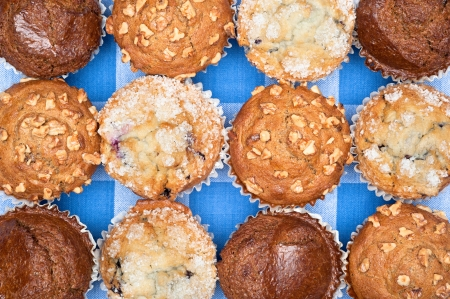 A group of freshly baked breakfast muffins including blueberry, chocolate, and walnut resting on a checkered tablecloth. photo