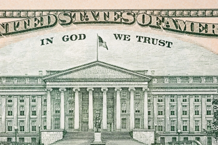 in god we trust: Close up of the back of an American ten dollar bill with the Capitol building as part of its watermark. Stock Photo