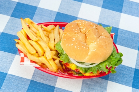 A top down view of a hamburger with fries in a red basket on a picnic tablecloth.