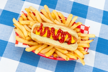 A fresh hotdog surrounded by piping hot french fries in a red serving basket on a checkered tablecloth. photo