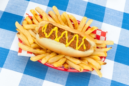 A chilidog with mustard in a basket of fresh french fries on a blue and white checkered tablecloth. photo
