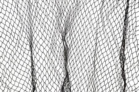 redes de pesca: Una red de pesca verde oscuro contra un fondo blanco. Foto de archivo