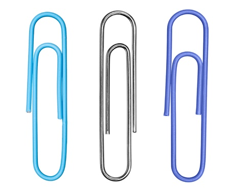 bendable: A c ollection of three paperclips, including a traditional silver clip, isolated on a white background. Stock Photo