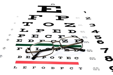 diagnostic tool: A pair of reading glasses on a Snellen eye exam chart to test eyesight accuracy  Stock Photo