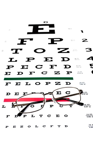 A Pair Of Reading Glasses On A Snellen Eye Exam Chart To Test
