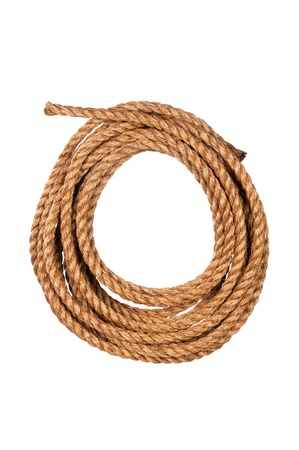 coiled: Hemp three strand rope coiled in a circluar pattern isolated against a white background. Stock Photo