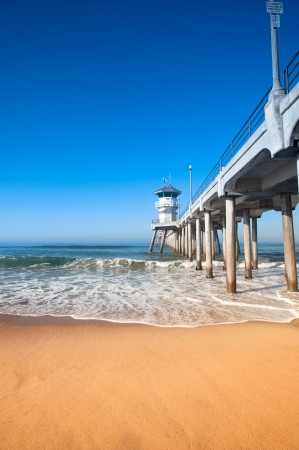 Colorful image of the Huntington Beach pier during an early morning sunrise.