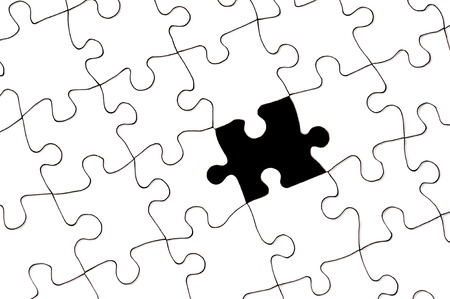 inferences: A white blank puzzle with one single missing piece.  Can be used for strategic, complexity, incomplete, skill or solution inferences