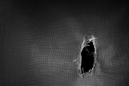 torned: Window screen torn with a big hole against a black background.