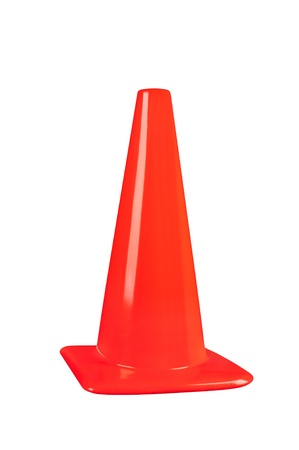 traffic cone: An orange street safety cone isolated on white Stock Photo