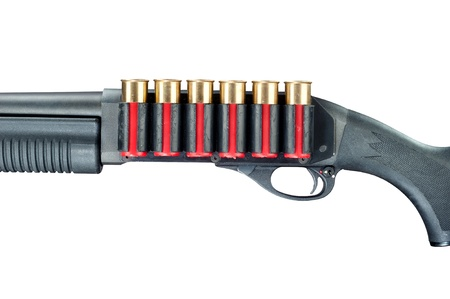 ownership and control: A shotgun with red shell cartridge ammo isolated against a white background.