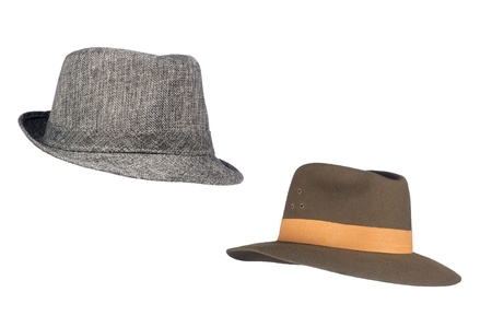 inferences: Two isolated fedora sunhats for use as retro revival clothing objects or any other headwear inferences.