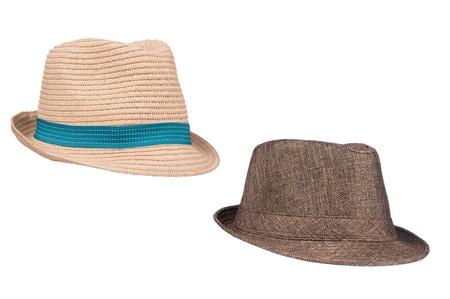 복고풍 부흥 의류 개체 또는 다른 모자 추론로 사용하기에 두 격리 된 페도라 sunhats. 스톡 콘텐츠 - 18620268