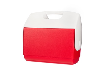 ice chest: A red ice chest cooler isolated on a white background