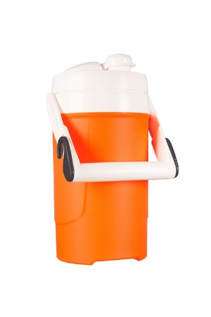 insulate: A new, portable beverage thermos used to keep drinks hot or cold is isolated on white.