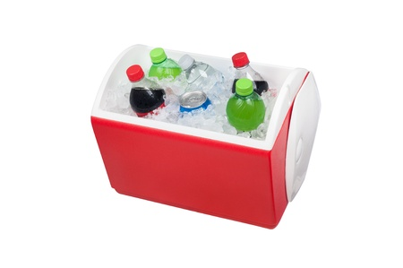 ice chest: An isolated ice chest cooler filled with ice and soft drinks such as water and soda.