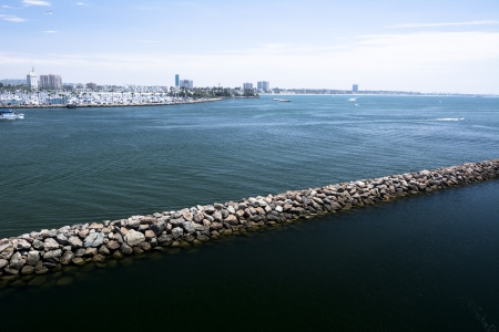 panoramas: Breakwater across Long Beach Harbor for use as a barrier bewteen a shallow side of the bay and the deeper, navigable side.