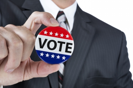 voted: A politican is promoting the right to vote in political elections in the USA.