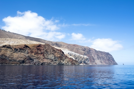 guadalupe island: Rugged Guadalupe Island in Mexico where divers go to see great white sharks