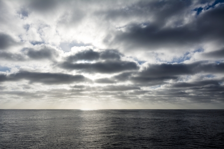 inclement: A stormy sky over the ocean as the sun is setting  Stock Photo