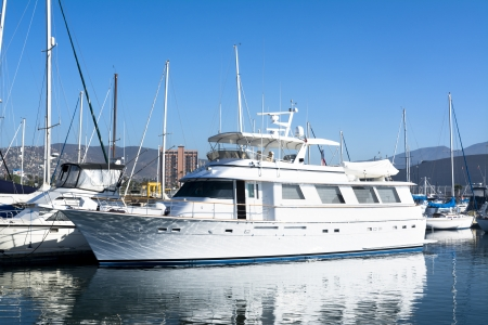 pleasure boat: A private luxury yacht docked in Ensenada Mexico ready for a cruise